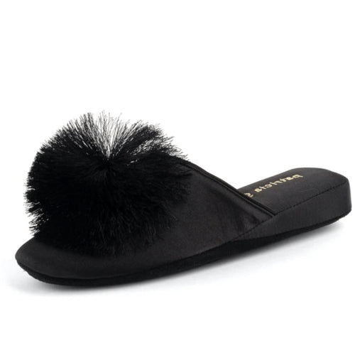 Cathy Satin Slipper Black