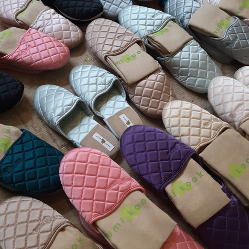 Quilted Silk Satin Slippers - Maisonette Shop