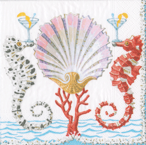 Seahorses and Shell Boxed Paper Cocktail Napkins - Maisonette Shop