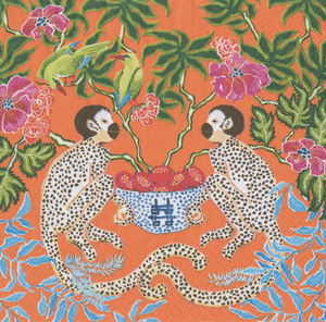 Monkeys Orange Boxed Paper Cocktail Napkins - Maisonette Shop