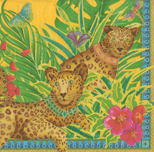 Leopards Yellow Boxed Paper Cocktail Napkins - Maisonette Shop