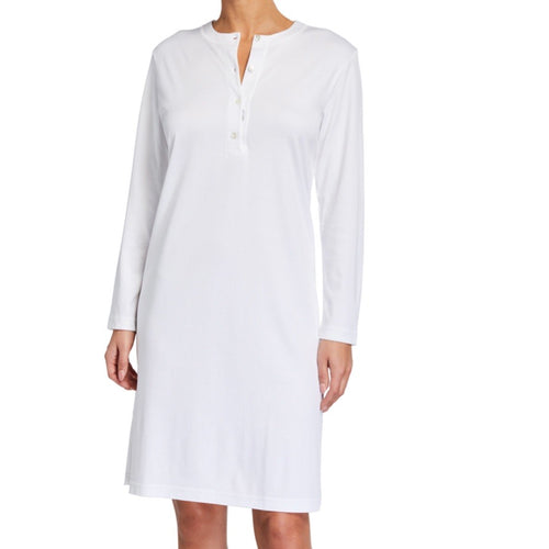 Butterknit Button Placket Short Gown White