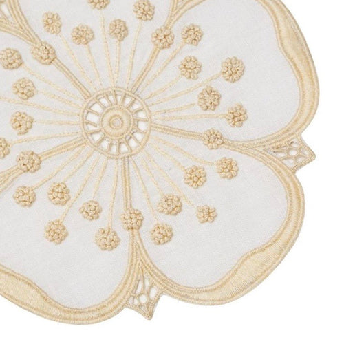 Ecru & White Flower Cocktail Napkin Set
