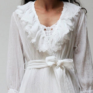 Gwendolyn Cotton Robe with Lace - Maisonette Shop