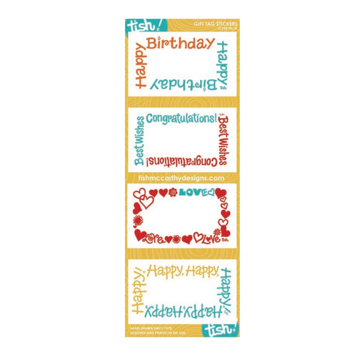 Yellow Mix Gift Tag Stickers—Tish - Maisonette Shop
