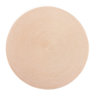 Gold & White Round Braided Placemat - Maisonette Shop