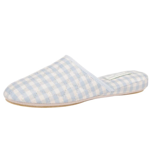 Blue Gingham Sari Silk Slipper