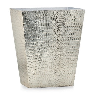 Crocodile Silver Wastebasket - Maisonette Shop