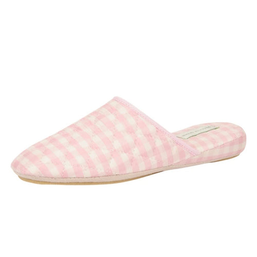 Pink Gingham Sari Silk Slipper