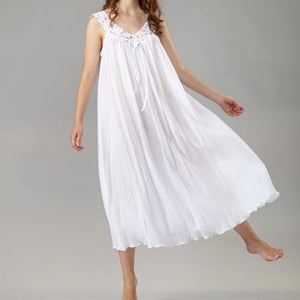 Louisette Cotton Gown with Lace - Maisonette Shop