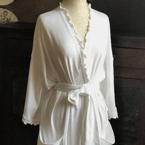 Long Wrap Robe White Cotton Interlock - Maisonette Shop