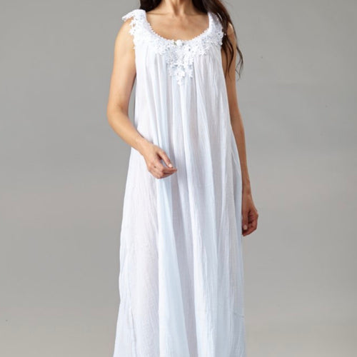 Francesca Cotton Gown with Venice Lace - Maisonette Shop