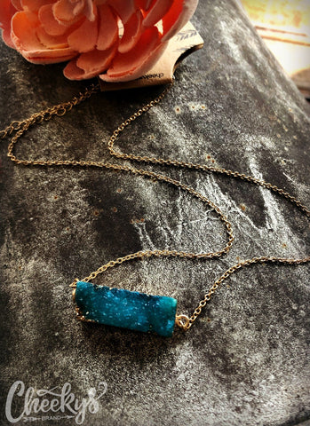 Druzy Bar Turquoise Necklace