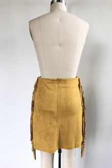SUEDE MINI SKIRT WITH SIDE FRINGE