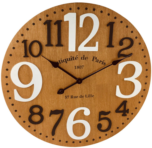 Wooden Embossed Number Clock 60cm