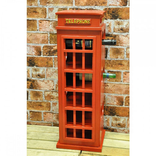 Wooden Telephone Box Wine Rack 77cm