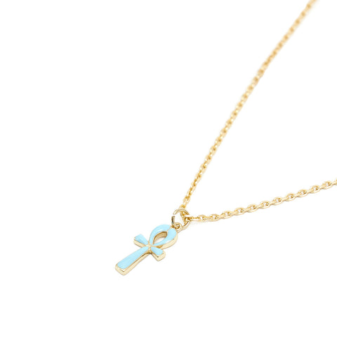 Gold Plated Silver Ankh Enamel Necklace - Serge DeNimes