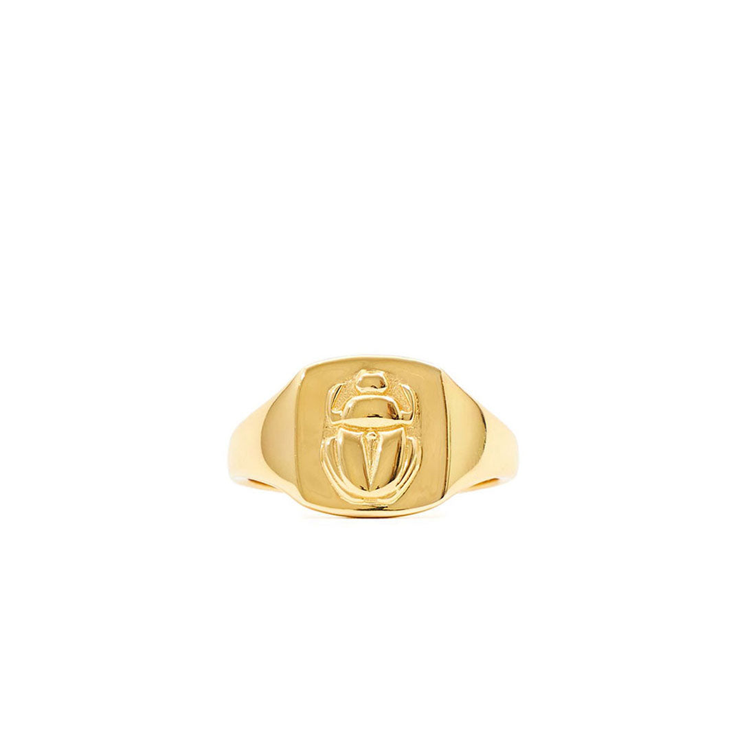 Gold Plated Silver Scarab Ring - sergedenimes