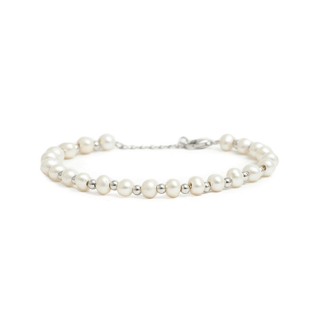 Silver Pearl Bead Bracelet - Limited Edition