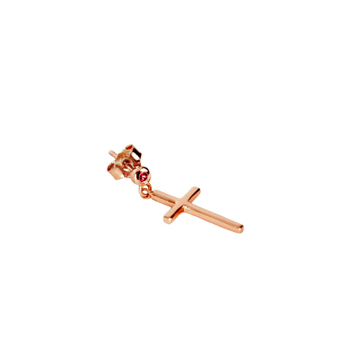 Rose Gold Plated Silver Cross Drop Earring - Serge DeNimes