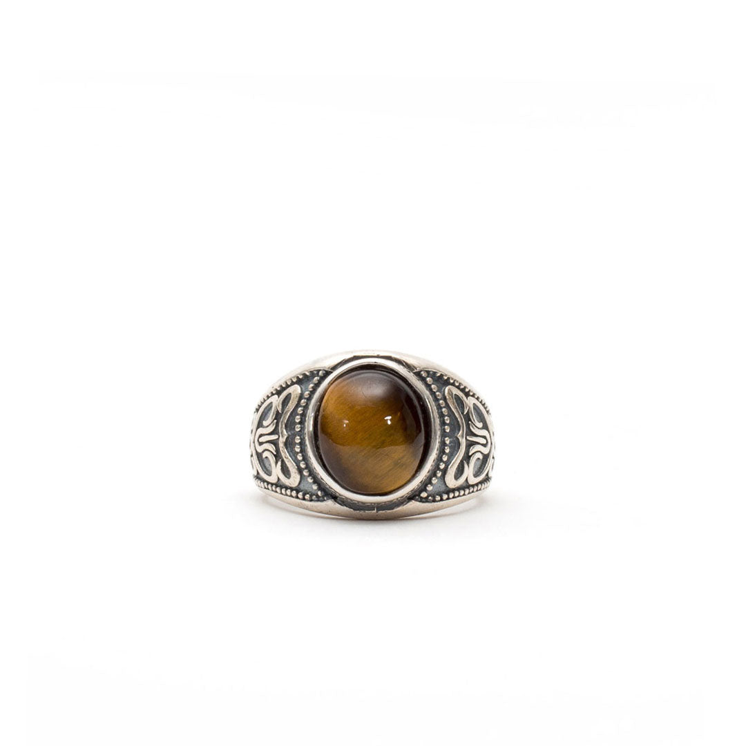 Silver Amber Stone Ring - Serge DeNimes