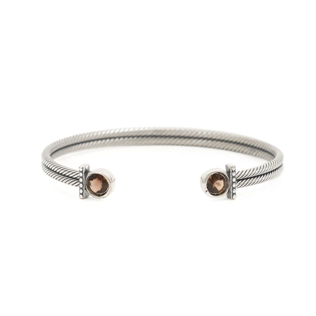 Silver Smoky Quartz Bangle - sergedenimes