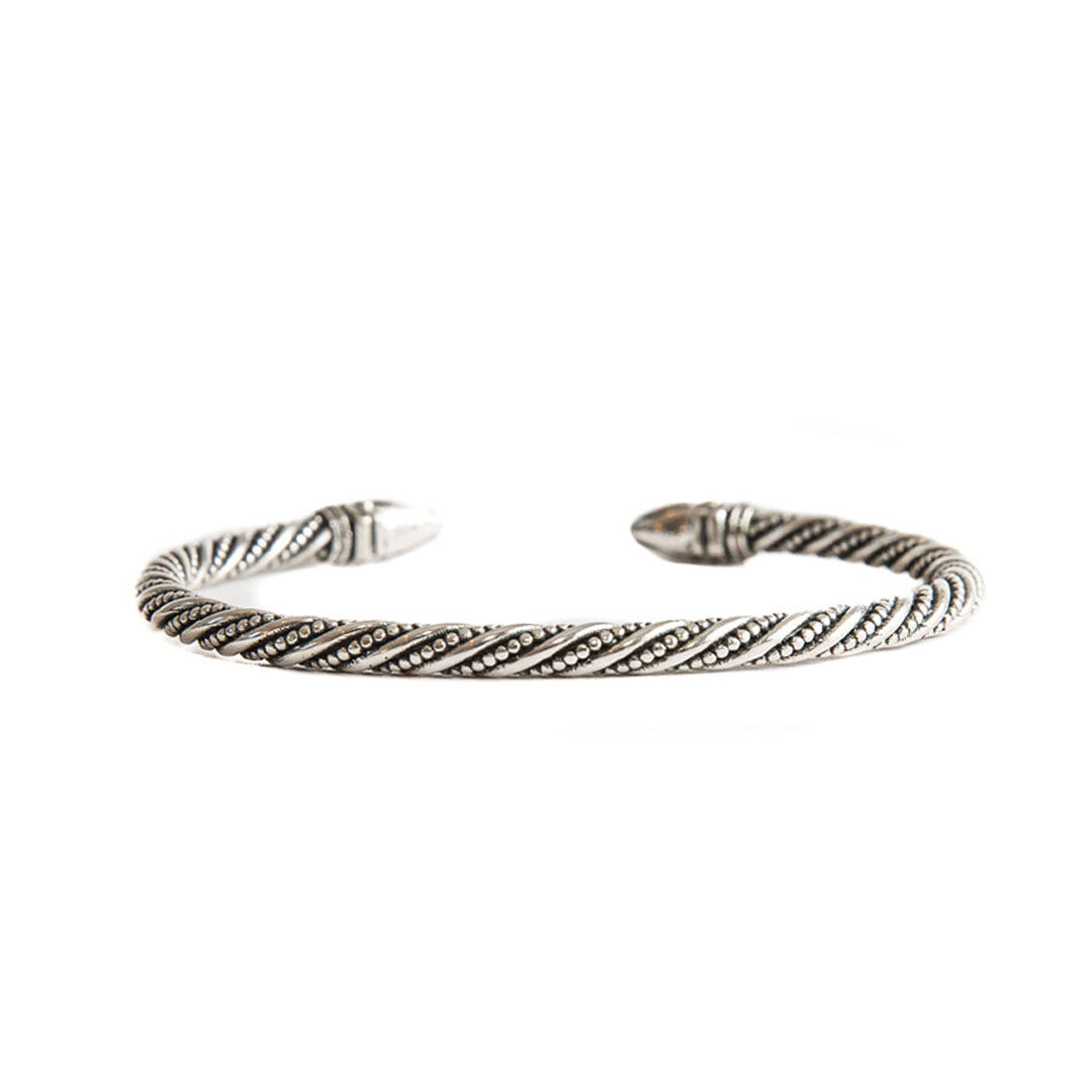 Silver Spiked Detailed Bangle - Serge DeNimes