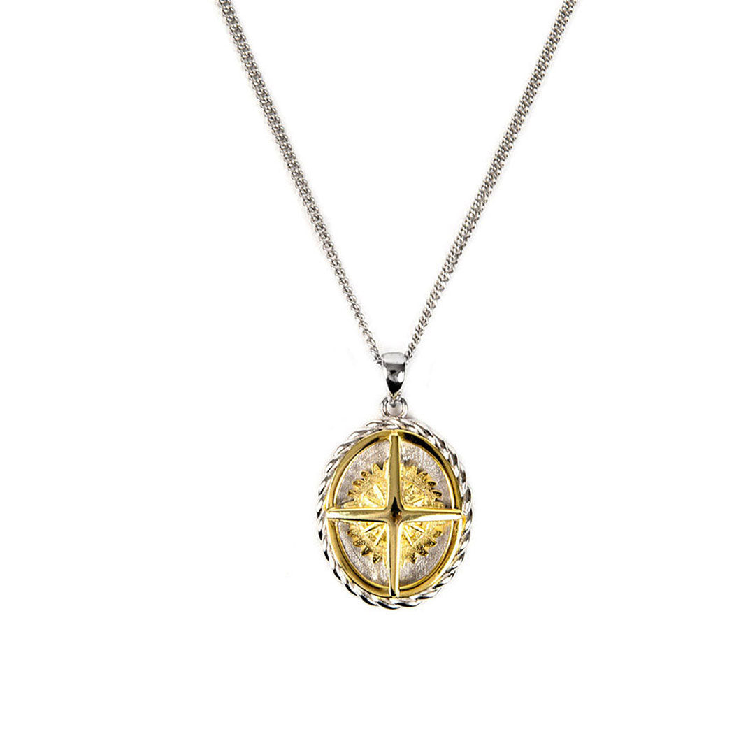 Silver Two Tone Compass Necklace - sergedenimes