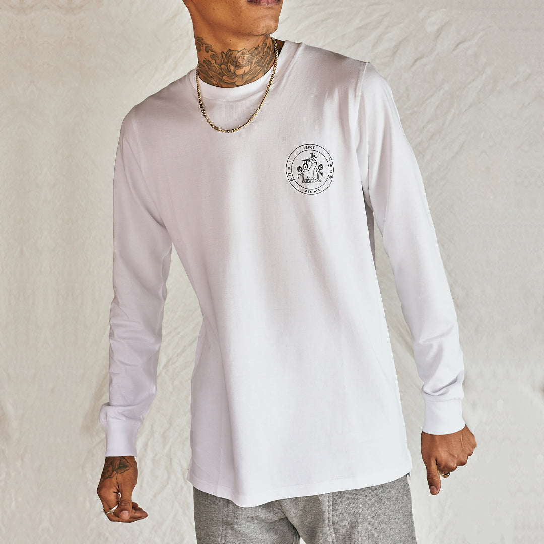 White Crest Long Sleeve Top - Serge DeNimes