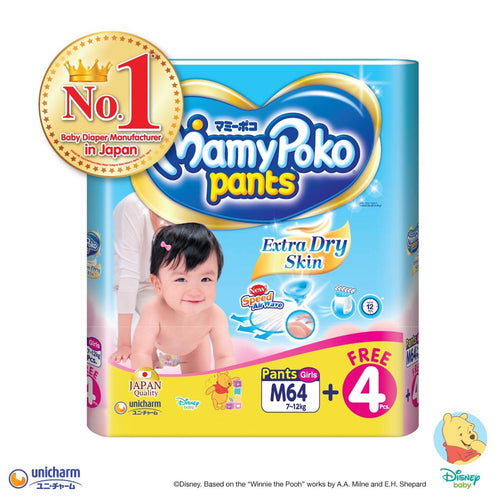 Mamypoko Extra Dry Skin Pants Girl - M64+4 x 1 pack