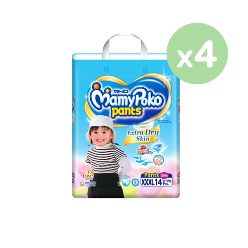 Mamypoko Extra Dry Skin Pants Girl - XXXL14 x 4 packs