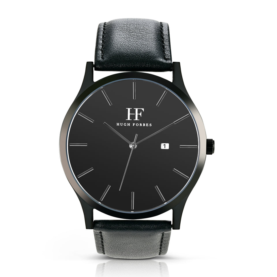 Black Stainless Steel Watch with Black Dial and Black leather band