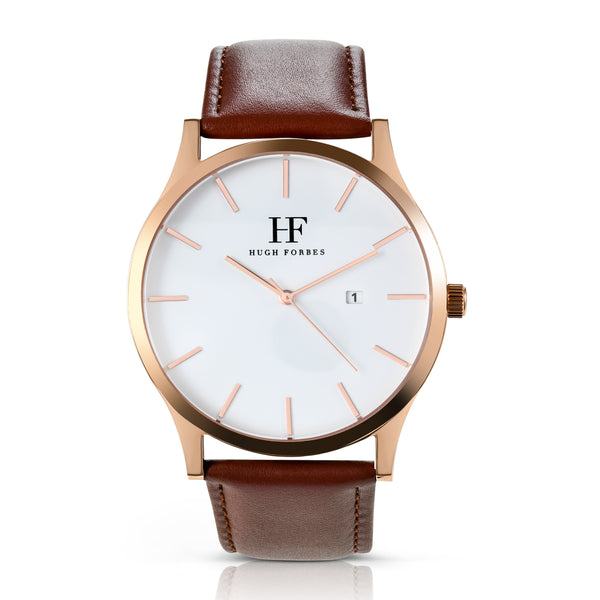 Rose Gold Watch with Brown Leather band and White Dial