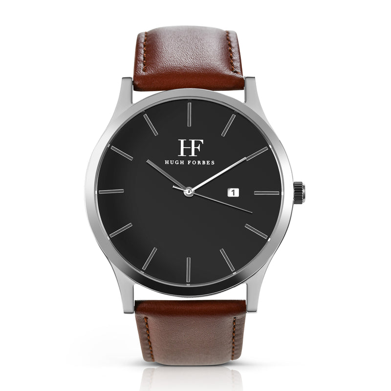 Silver Watch with Black Dial and Brown Leather Band