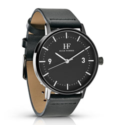 Black Watch with Black Dial and Black Leather Band