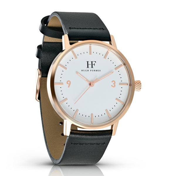 Rose Gold Watch with White dial and Black Leather Band