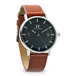 Silver Watch with Black Dial and Tan Leather Band