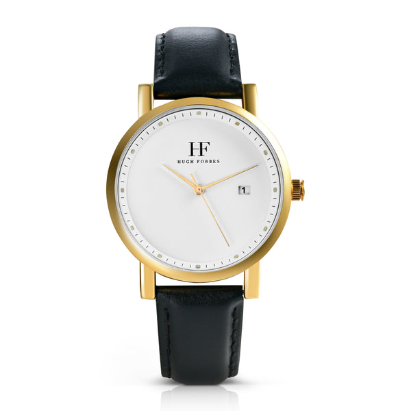 Gold Watch with White Dial and Black Leather Band