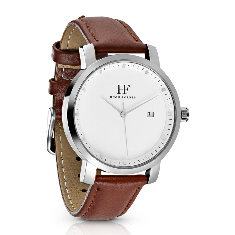 Silver Watch with white dial and Brown leather band