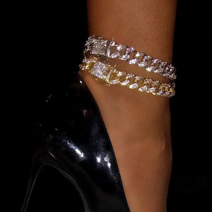 TB+CO. CRYSTAL CUBAN LINK ANKLET