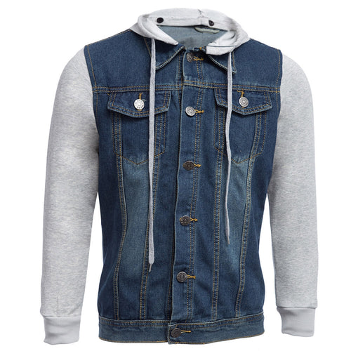 Casual Oversize Denim Patchwork Male Hooded Jacket