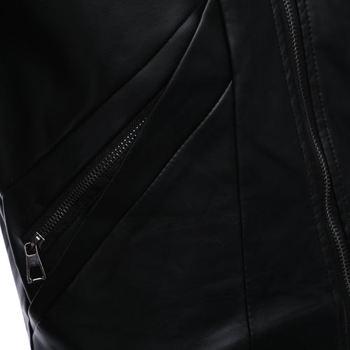 Stylish Stand Collar Zipper Design Male Warm Slim Fit Leather Coat