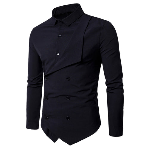 Double Breasted Long Sleeve Layered Shirt