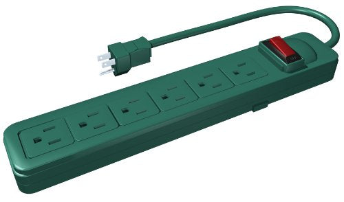 Westinghouse 28025 6-Outlet Grounded Power Strip with 2.5-Foot Cord, Green, Power Strips .