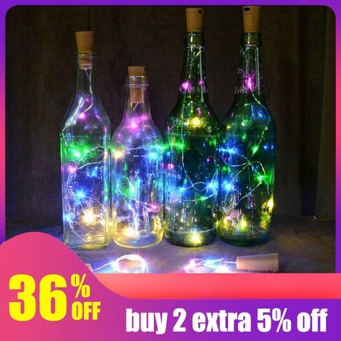 Wire Lights Wine Bottle Cork For Wedding Festival Party (9 Colors)