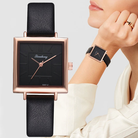Contracted Leather Crystal Wristwatches