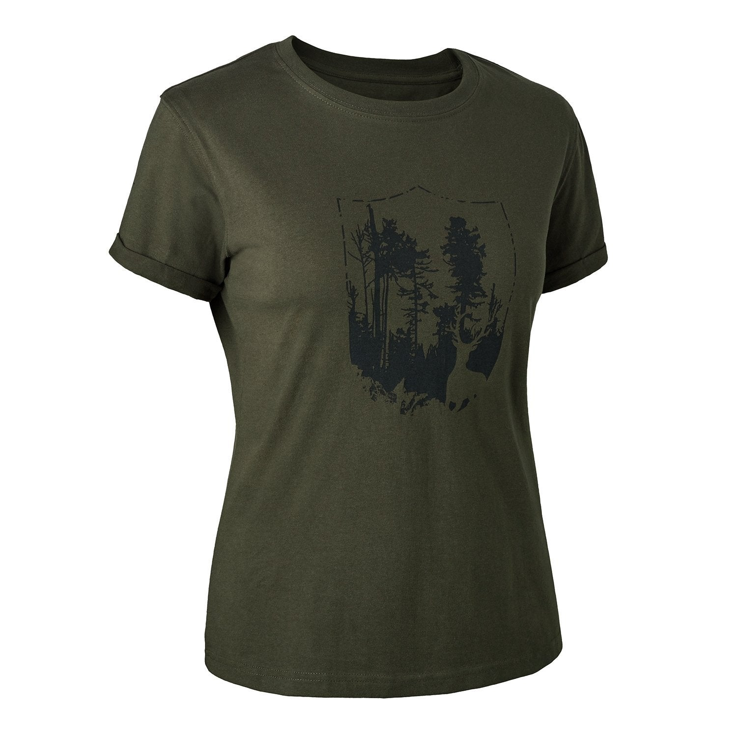 Image of Deerhunter - Dame T-Shirt med Skjold
