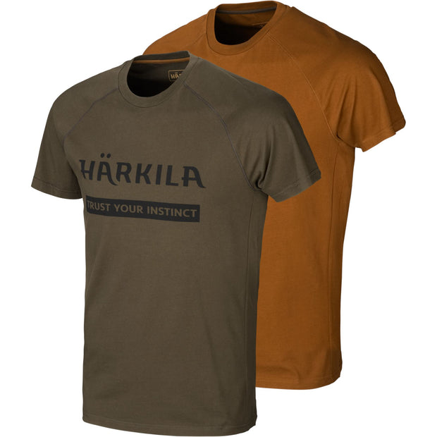 Härkila logo t-shirt 2-pack T-shirts Härkila Willow green/Rustique clay S