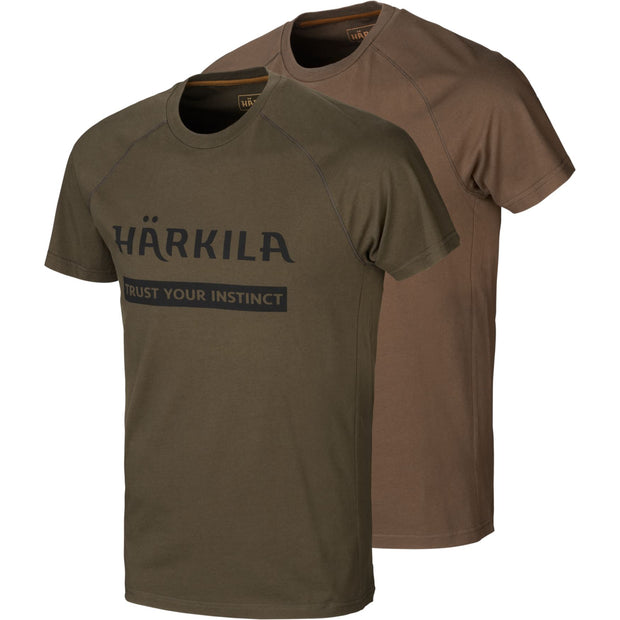 Härkila logo t-shirt 2-pack T-shirts Härkila Willow green/Slate brown S