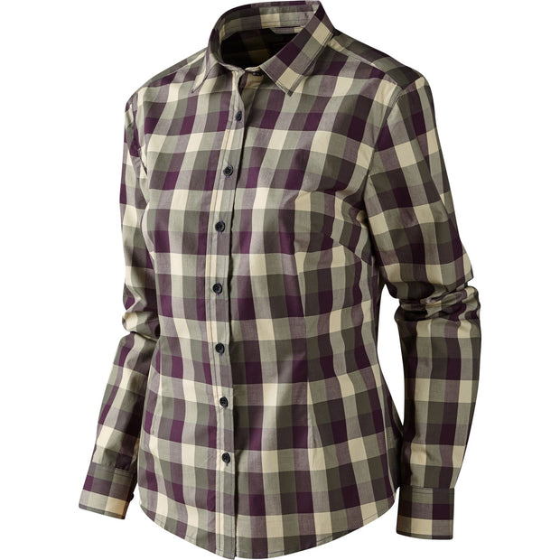 Lara Lady L/S skjorte Jagtskjorte / Outdoor skjorte Härkila Plum perfect check S